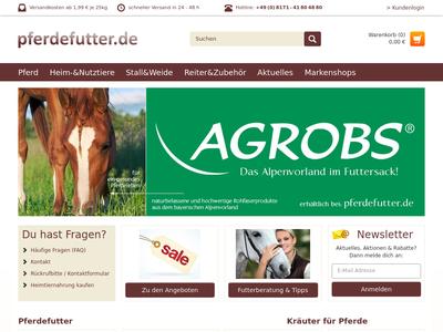 Bildschirmfoto für pferdefutter.de