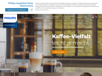 Bildschirmfoto für philips.de