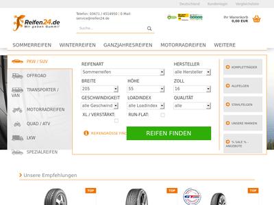 Bildschirmfoto für reifen24.de