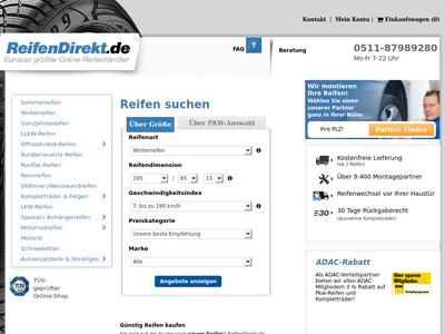 Bildschirmfoto für ReifenDirekt.de