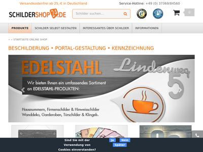 Bildschirmfoto für Schildershop24