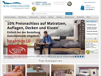 Bildschirmfoto für schlafwelten.com