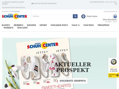 Bildschirmfoto für Schuhcenter