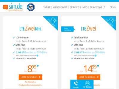 Bildschirmfoto für sim.de