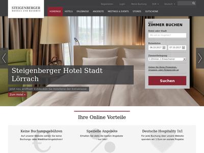 Bildschirmfoto für steigenberger.com