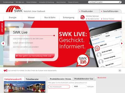 Bildschirmfoto für swk.de