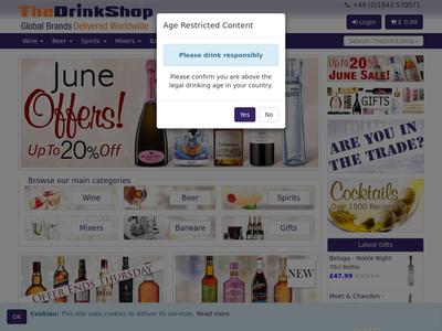 Bildschirmfoto für thedrinkshop.com