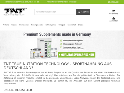 Bildschirmfoto für TNT Supplements