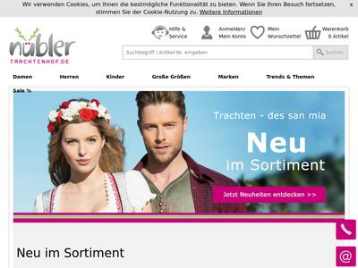 Bildschirmfoto für Trachtenhof Nübler