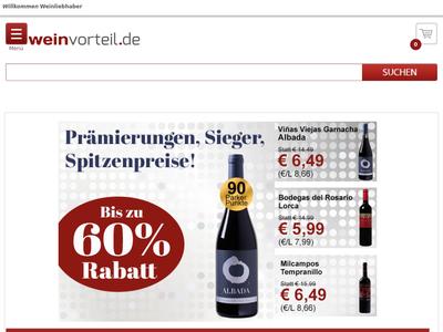 Bildschirmfoto für Weinvorteil.de