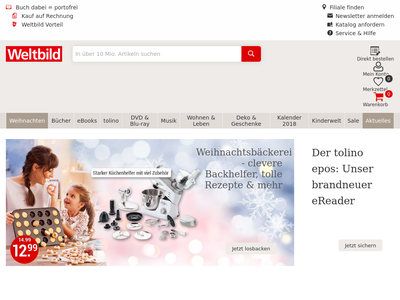 Bildschirmfoto für Weltbild.de