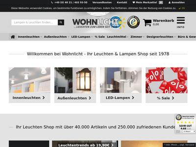 Bildschirmfoto für wohnlicht.com