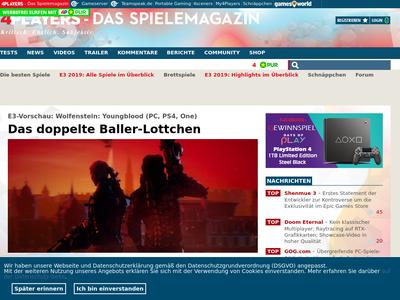 Bildschirmfoto für 4players.de