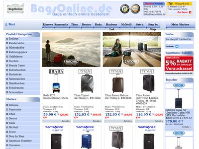 Bildschirmfoto für BagsOnline.de