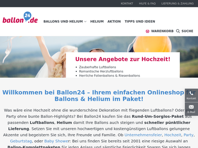 Bildschirmfoto für ballon24.de