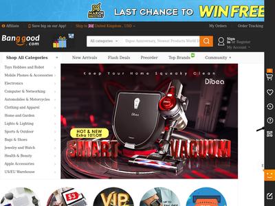 Bildschirmfoto für Banggood.com