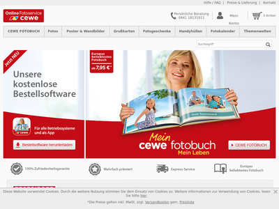 Bildschirmfoto für cewe-fotoservice.de