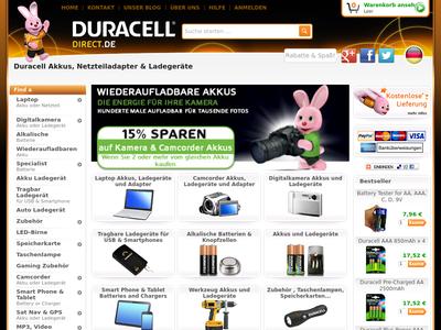 Bildschirmfoto für duracelldirect.de