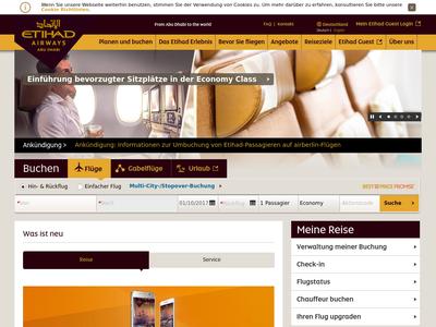 Bildschirmfoto für Etihad Airways