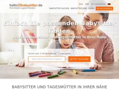 Bildschirmfoto für HalloBabysitter.de