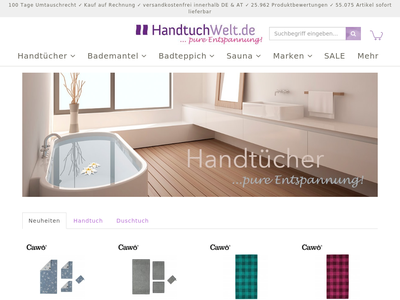 Bildschirmfoto für Handtuch-Welt.de