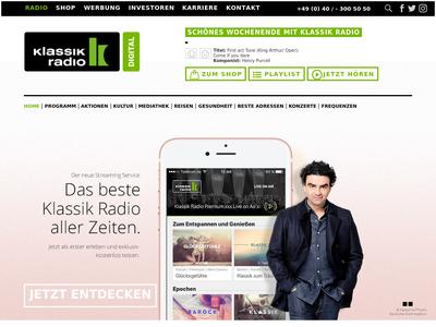 Bildschirmfoto für klassikradio.de