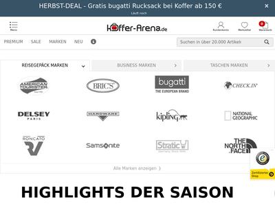 Bildschirmfoto für Koffer-Arena.de