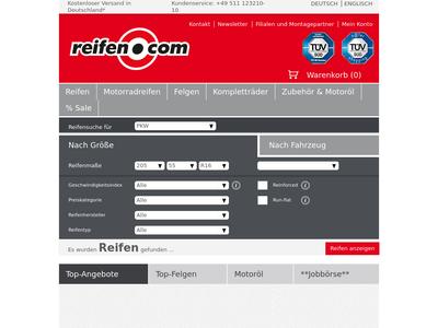 Bildschirmfoto für reifen.com