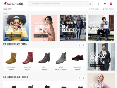 Bildschirmfoto für schuhe.de