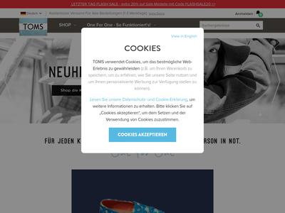 Bildschirmfoto für shoptoms.de