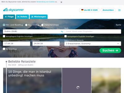 Bildschirmfoto für skyscanner.de