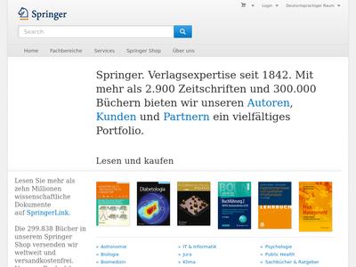 Bildschirmfoto für springer.com