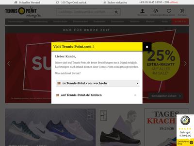 Bildschirmfoto für tennis-point.de
