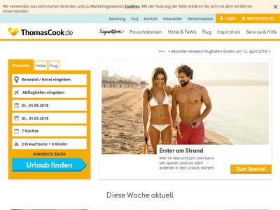 Bildschirmfoto für thomascook.de