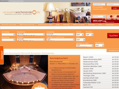 Bildschirmfoto für Verwoehnwochenende.de