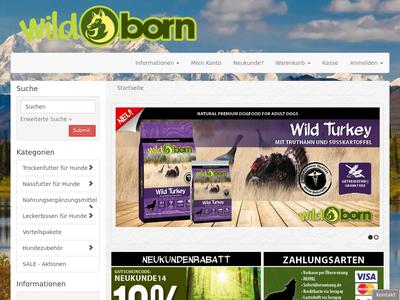Bildschirmfoto für Wildborn Hundefutter