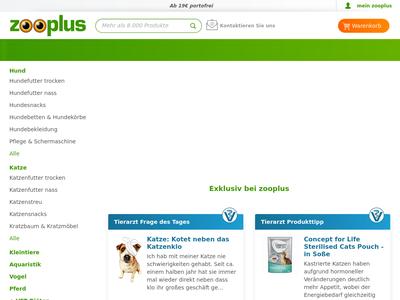 Bildschirmfoto für zooplus