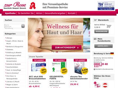 Bildschirmfoto für Zur Rose Versandapotheke