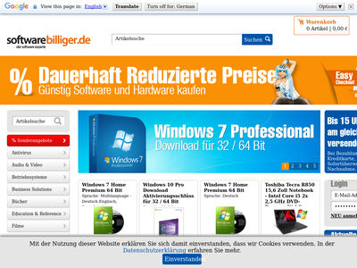 Bildschirmfoto für Softwarebilliger.de
